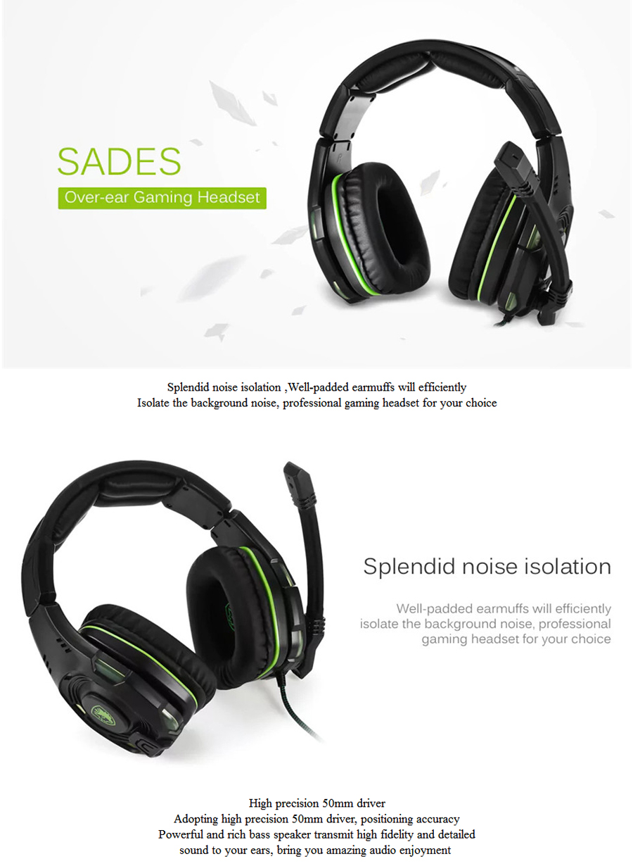 Sades SA-938 Noise Canceling Wired Gaming Headset with Microphone Volume Control