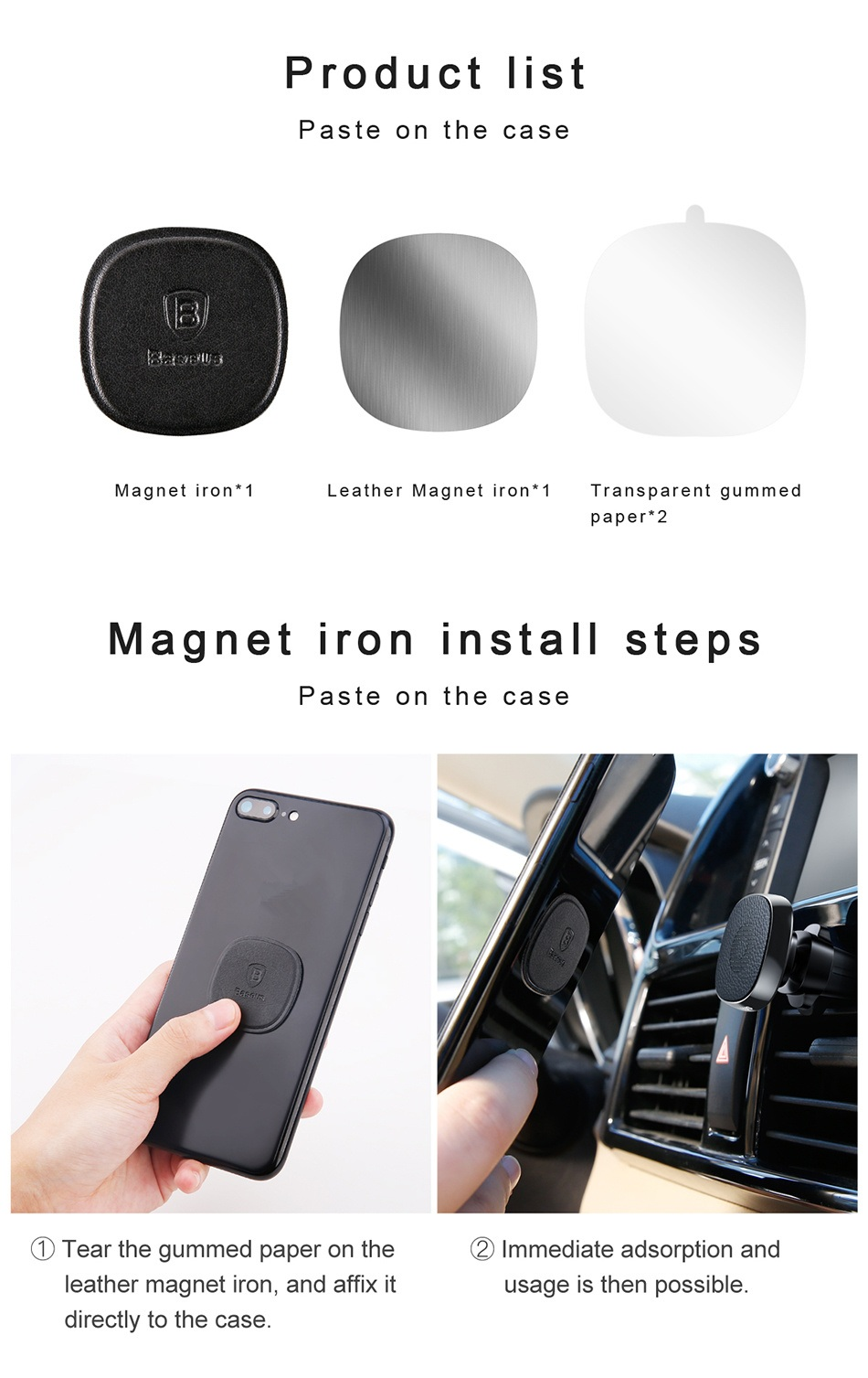 Baseus Pro Car Air Vent Holder Durable Leather Magnetic Phone Mount Stand for iPhone Samsung Xiaomi