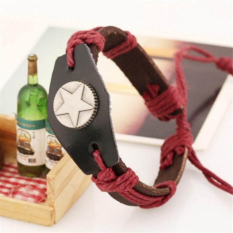 European Hand Woven Rope Leather Adjustable Men Bracelet Unisex Jewelry