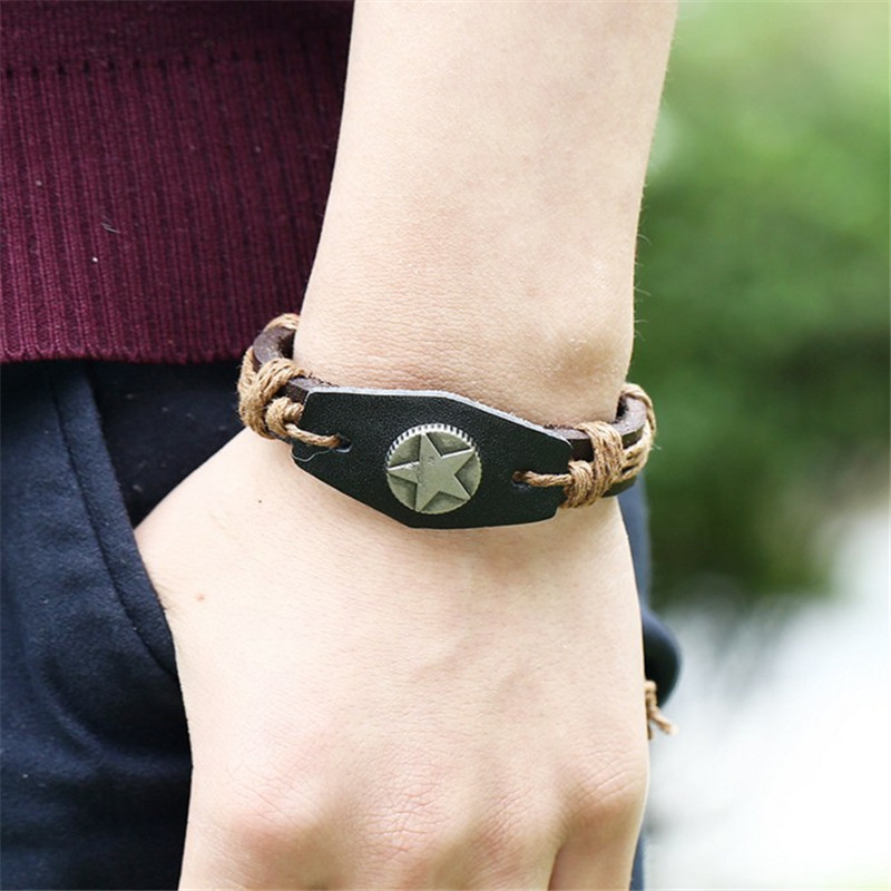 European Hand Woven Rope Leather Adjustable Men Bracelet Unisex Jewelry