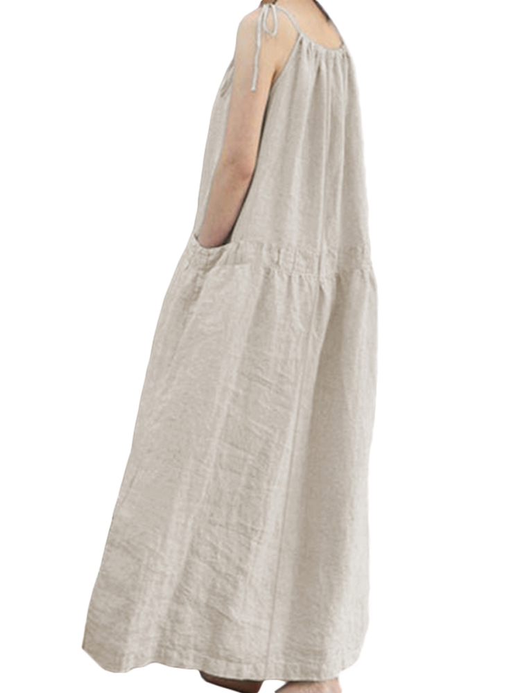 Women Spaghetti Strap Cotton Loose Solid Long Maxi Dress