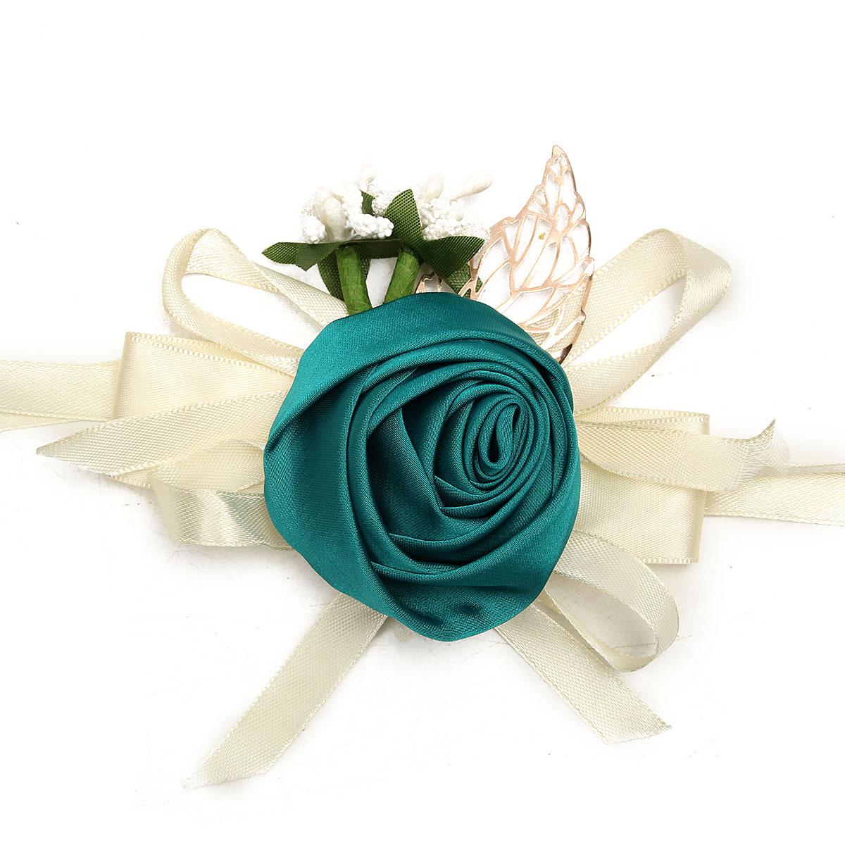 Bridal Rose Ribbon Wrist Flower Bridesmaid Corsage Bracelet Wedding Party Decoration