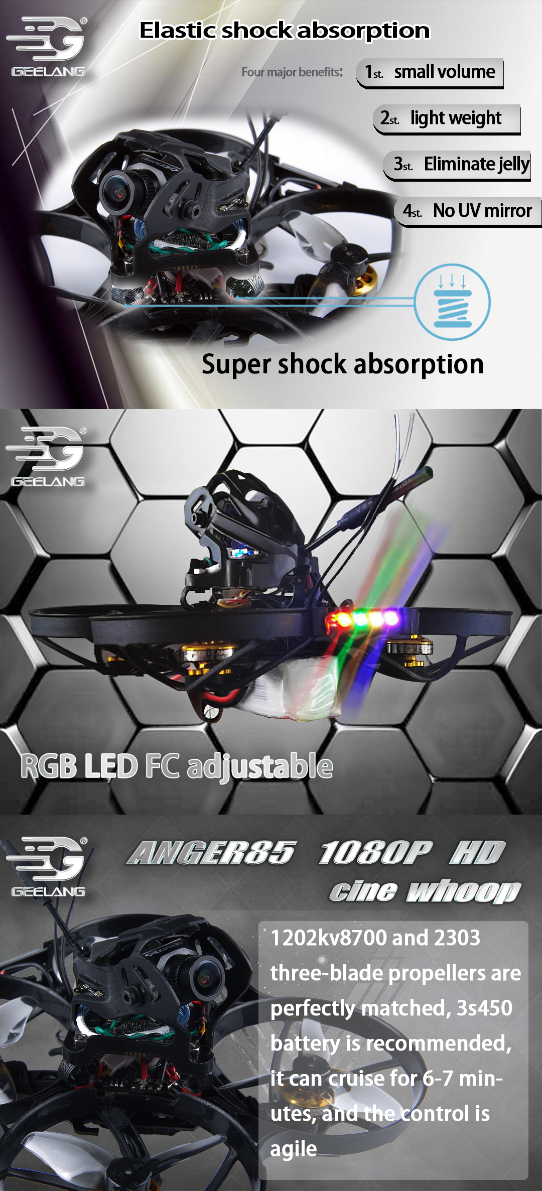 GEELANG Anger 85X 1080P HD 85mm F4 2-3S 2 Inch CineWhoop FPV Racing Drone PNP BNF w/ 5.8G 25-200mW VTX Caddx Baby Turtle Camera