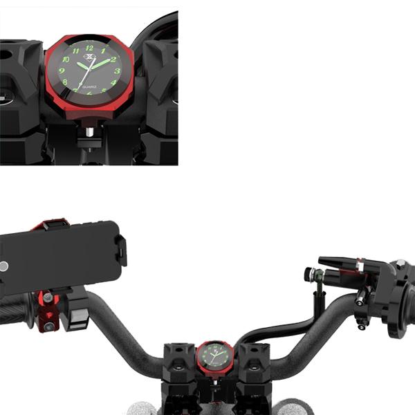 Motorcycle Clock Luminous Mount Waterproof Shock ResistanT-Handlebar Handlebar 22-28mm/0.8-1.1in