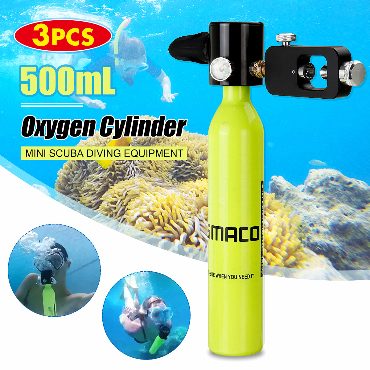 0.5L Portable Oxygen Cylinder High Pressure Air Oxygen Tank Diving Breathe Gear