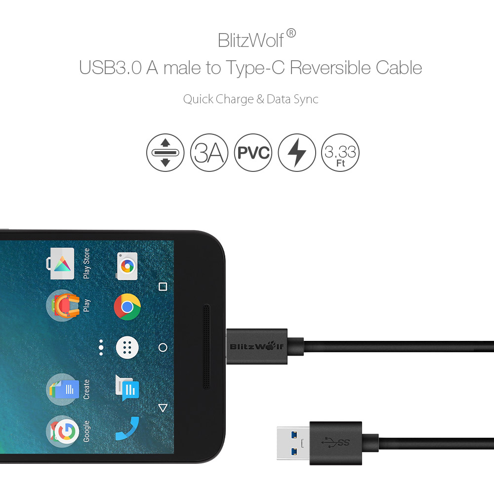 BlitzWolf® BW-CB3 3A Reversible 3.33ft/1m Charging Data USB Type C Cable With Magic Tape Strap