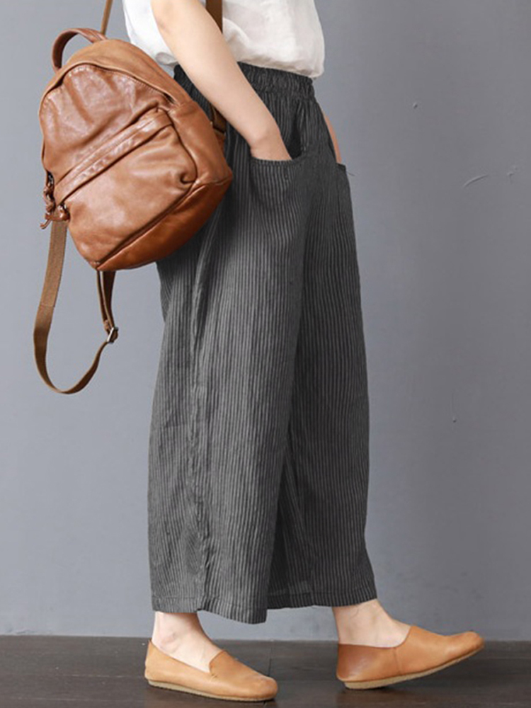 Women Stripe Elastic Waist Wide Leg Pants