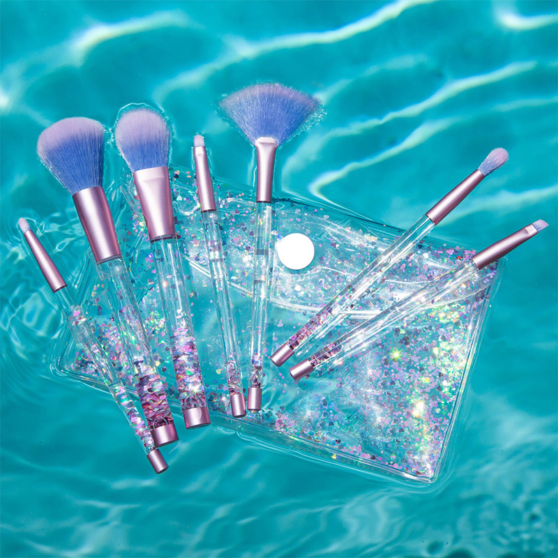 LuckyFine 7pcs Glitter Liquid Handle Makeup Brushes Mermaid Blending Foundation Eye Shadow Lips