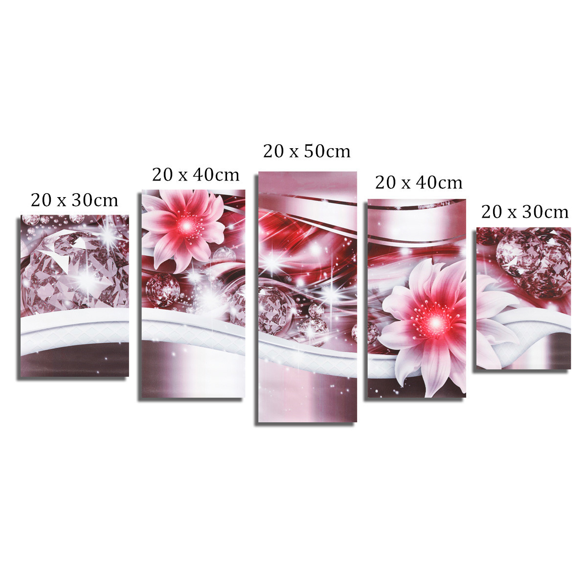 5PCS Diamond Flower Art Print Frameless Canvas Painting Wall Picture Home Decoration