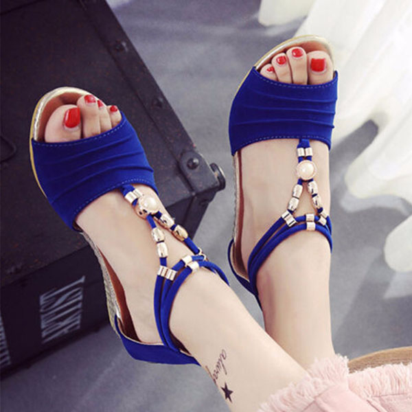 Women Beaded Flat Sandals T Strap Summer Beach Shoes Open Toe Wedges