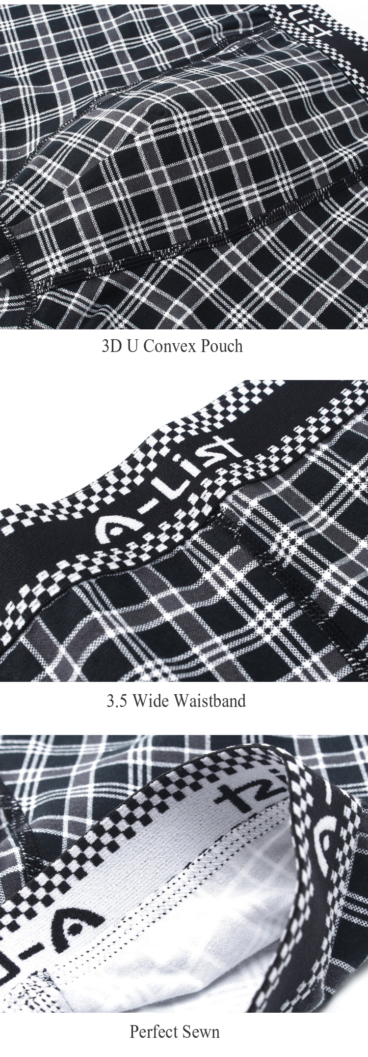 Mens Black White Plaid Printing Casual U Convex Underwear
