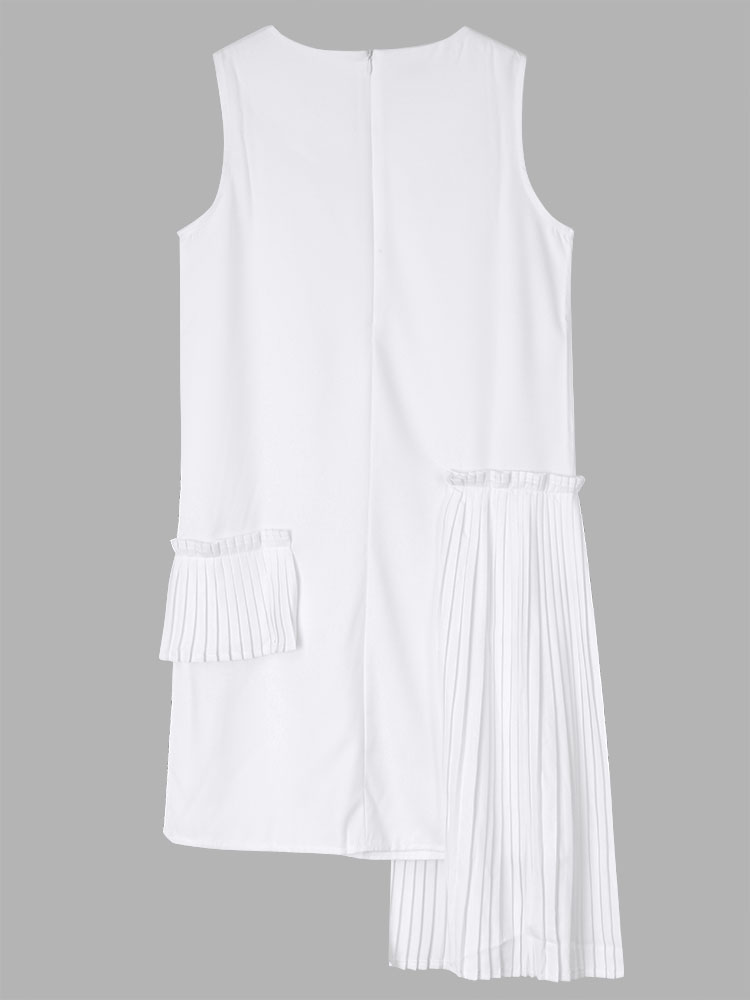 Casual Women Sleeveless Pleated Patchwork High Low Party Dress