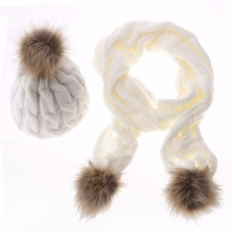 Women Ladies Knitted Artificial Fur Wool Beanie Crochet Baggy Ski Cap Hat Scarf Set