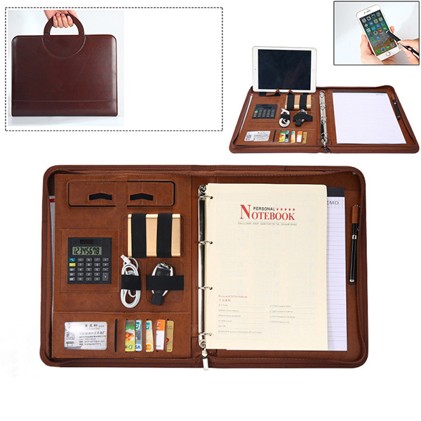 Men Multi-function Folder Zipper Briefcase