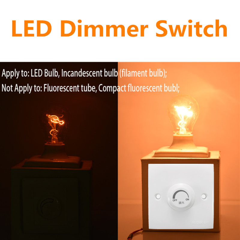 110V-220V Adjustable Controller Dimmer Switch For Dimmable Light Bulb Lamp LED Dimmer White