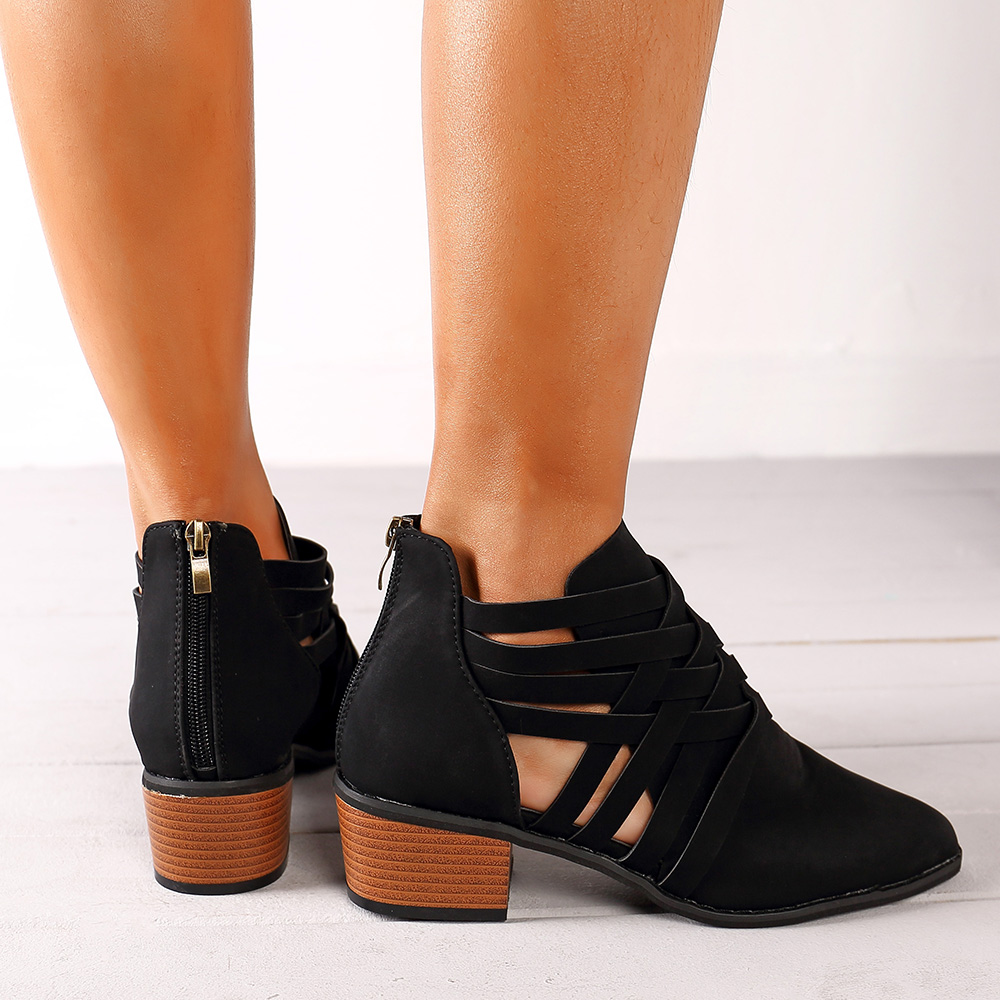 Large Size Hollow Out Casual Comfortable Zipper Ankle Boots
