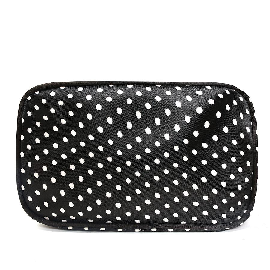 KCASA KC-MB04 Double Layers Travel Cosmetics Storage Bag Portable Large Makeup Dots Organizer