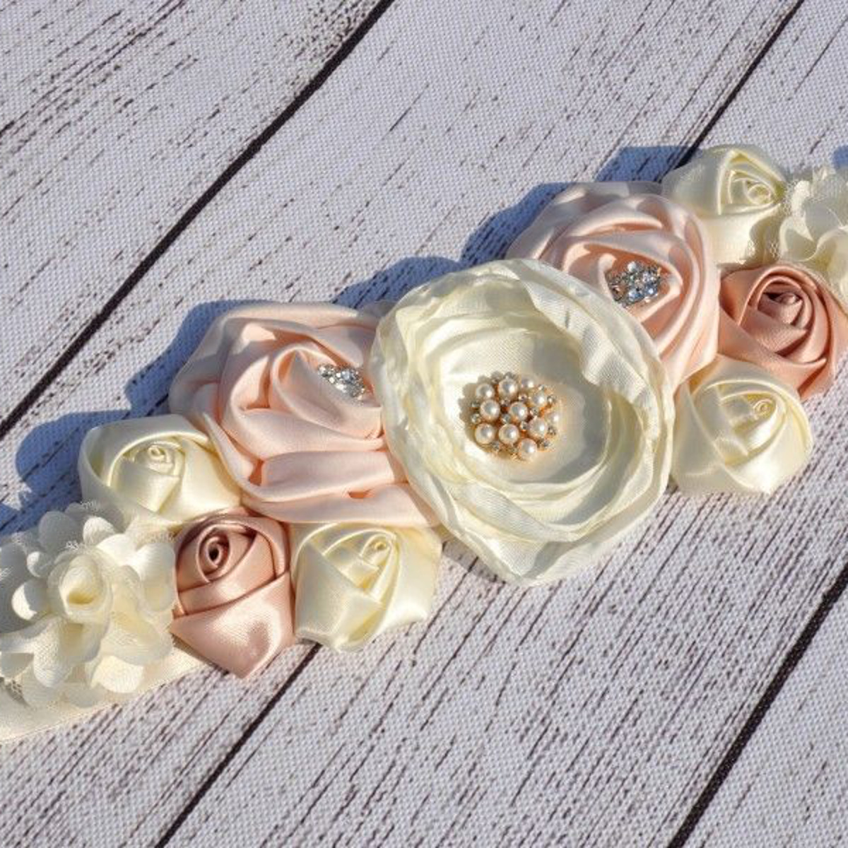 Beauty Kids Flower Girl Satin Silk Flower Sash Belt Wedding Dress Waist Belt