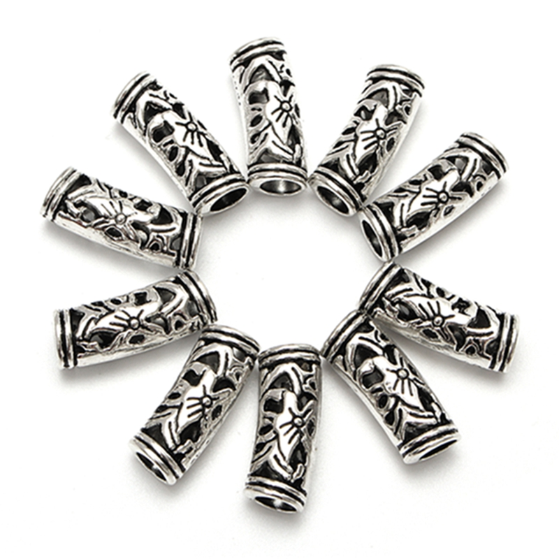 10Pcs 5mm Antique Silver Flower Tube Curved Hole Spacer Beads for Hair Dreadlock