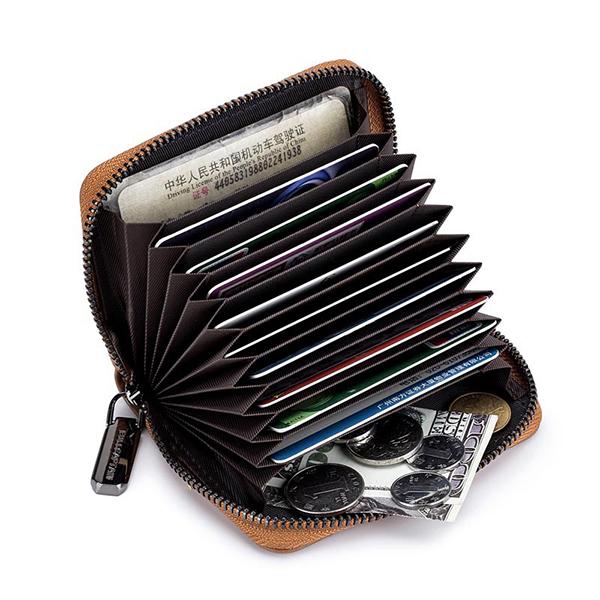 Bullcaptain Men Genuine Leather Multi-slots Card Holder