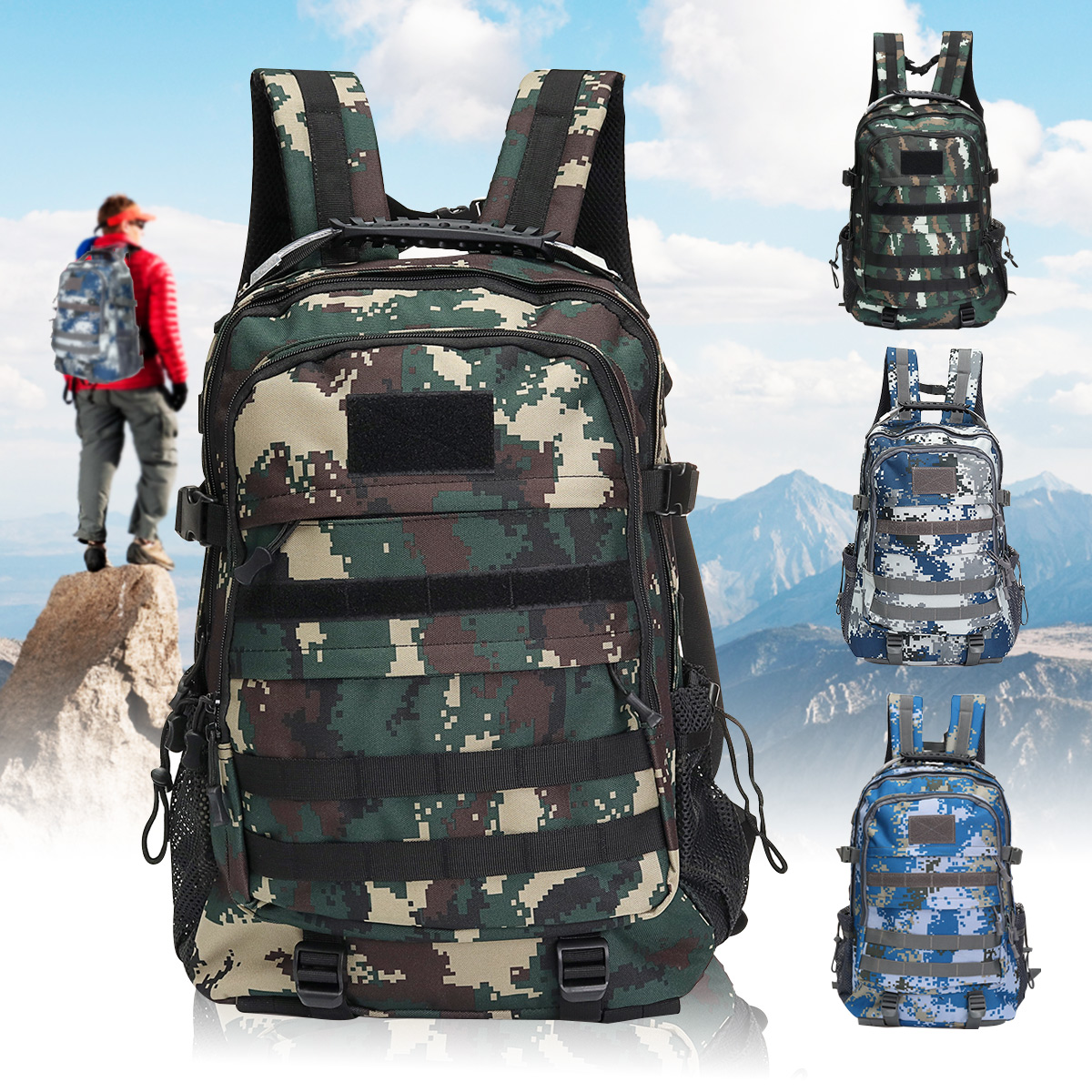 50L Outdoor Tactical Backpack Waterproof Nylon Shoulder Bag Sports Camping Hiking Travel Daypack