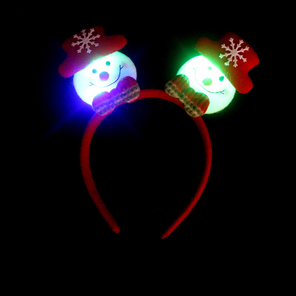 Flashing Double-heads Christmas Head Clasp Headbrand Christmas Hair Hoop Christmas Party Supplies