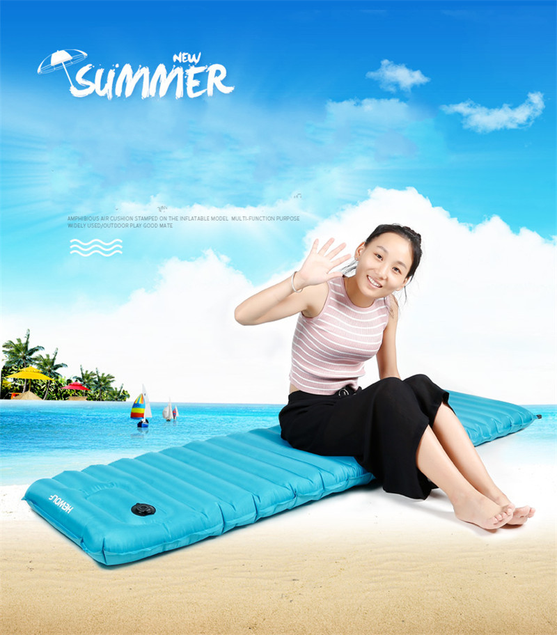 Hewolf Outdoor Inflatable Pad Portable Camping Tent Air Mat Waterproof Sleeping Float Mattress