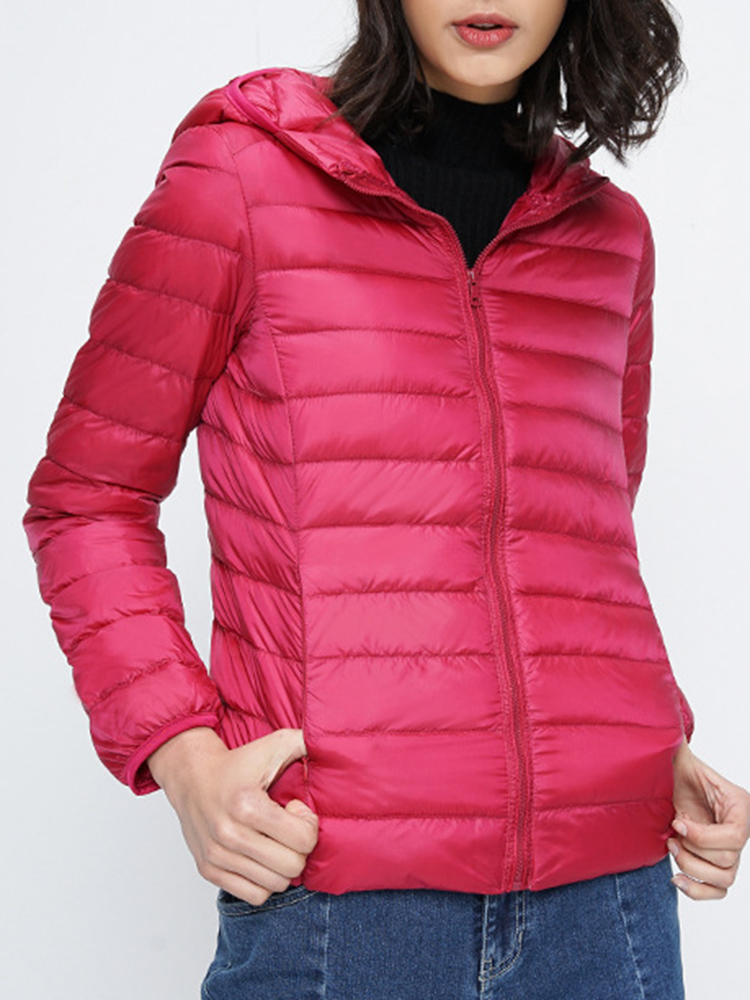12 Color Women Pure Color Zipper Long Sleeve Hooded Short Down Coats