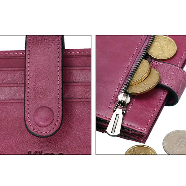 Female Genuine Leather Short Section Purse Simple Buckle