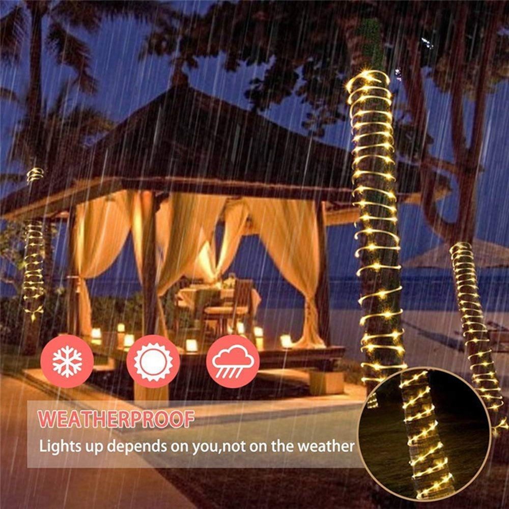 5M 50LED Battery Powered Rope Tube String Light Outdoor Christmas Garden Holiday Home Party Lamp