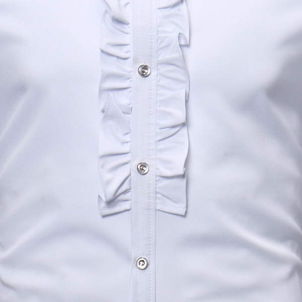 Mens Stand Collar Lace Decoration Spring Fit Dress Shirts