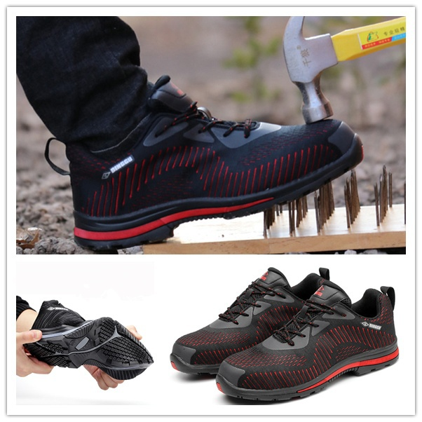 H20 Outdoor Sport Men Steel Toe Lightweight Bulletproof Midsole Safety Slip-on Hiking Shoes Sneakers
