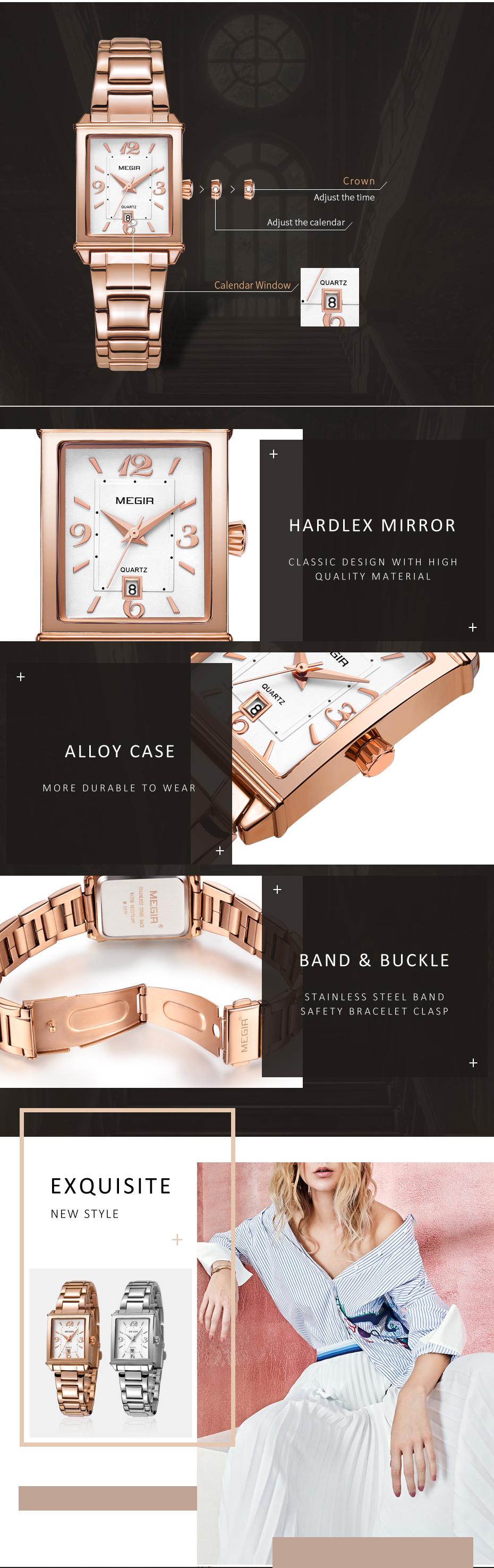 MEGIR 1079 Rose Gold Case Calendar Elegant Quartz Watch