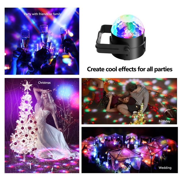 ARILUX® 5W RGBWP LED Sound Activated Remote Control Crystal Ball Stage Light for Christmas Party