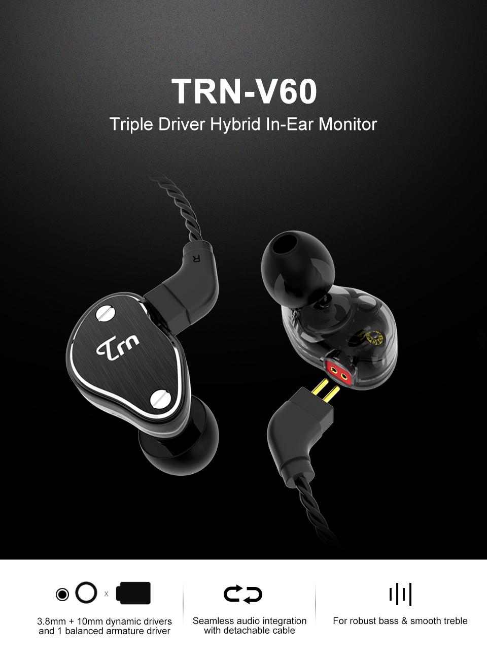 TRN V60 HiFi 6 Drivers Headphone Balanced Armature Dual Dynamic Driver In-ear Earphone Earbuds