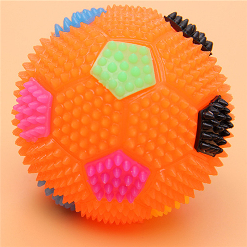 5PCS Flashing Light Up Color Changing Bouncing Hedgehog Ball Football With Bell Toy