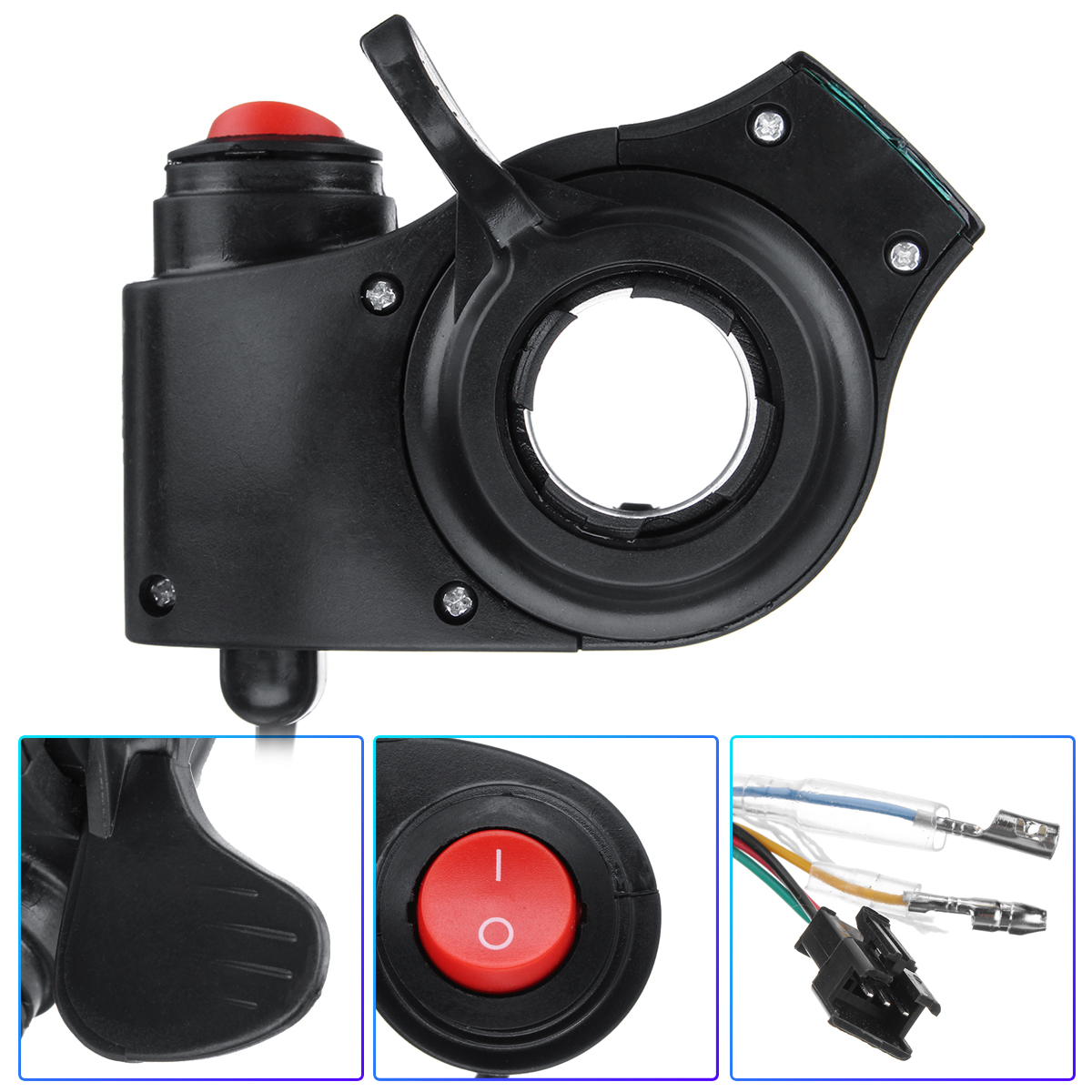 Thumb Throttle Electric Bike Scooter Key Knock with Power Switch LED Voltage Display