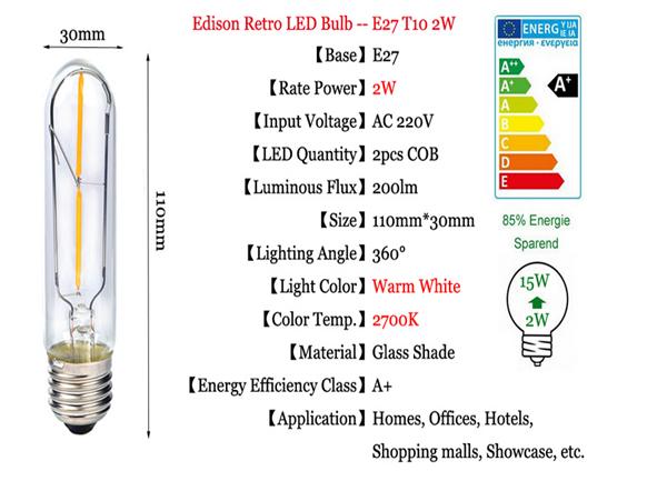 E27 T10 2W LED COB Filament Light Bulb Edison Vintage Retro Lamp AC 220V