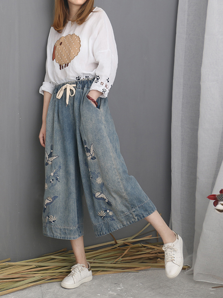 Embroidered Wide Leg Jeans