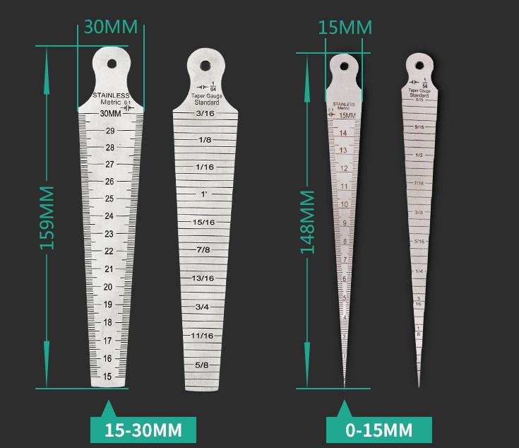 Drillpro 1-60mm Metric Imperial Wedge Feeler 1-15 / 15-30 / 30-45 / 45-60mm Profondimetro conico