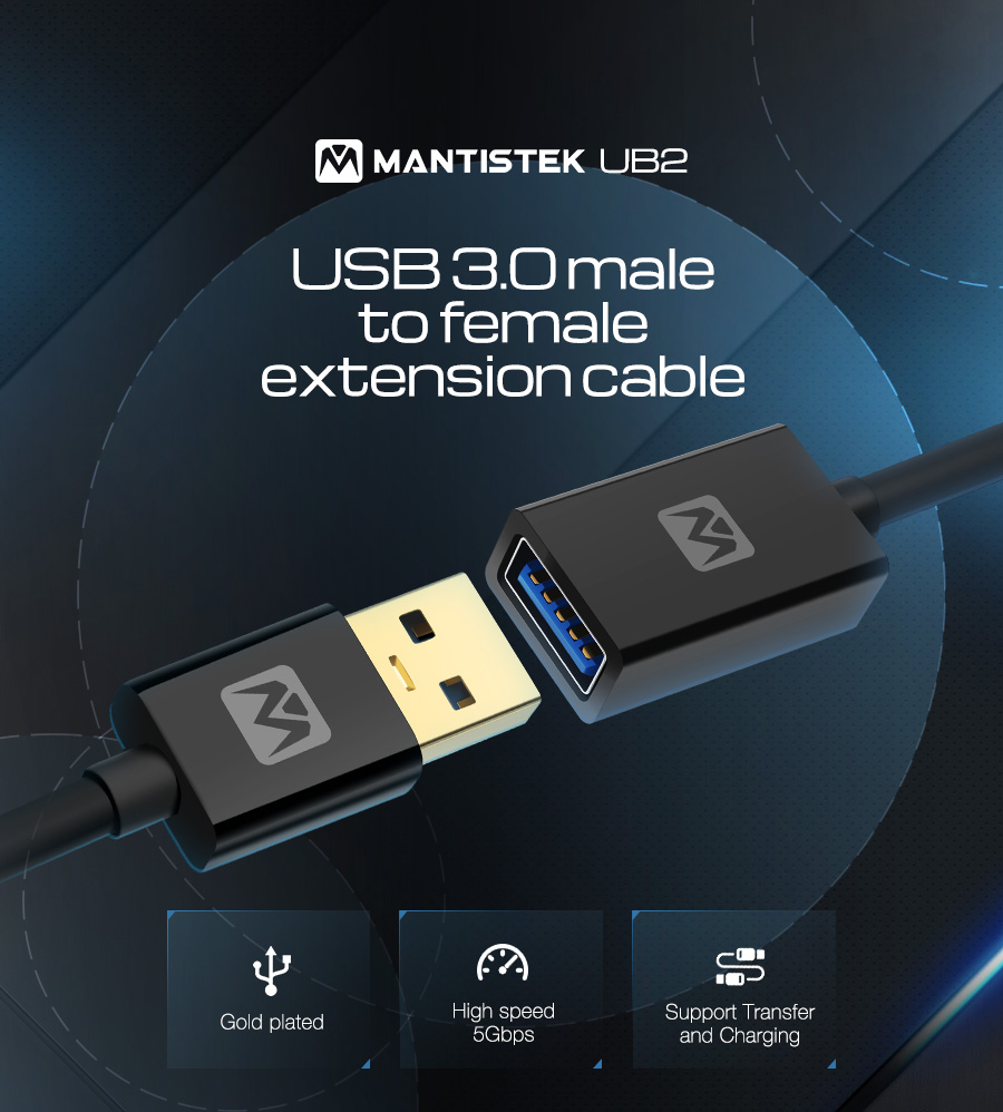 Mantistek® UB2 0.5-1.8M High Speed USB 3.0 Extension Cable Male to Female Extension Data Sync Cord