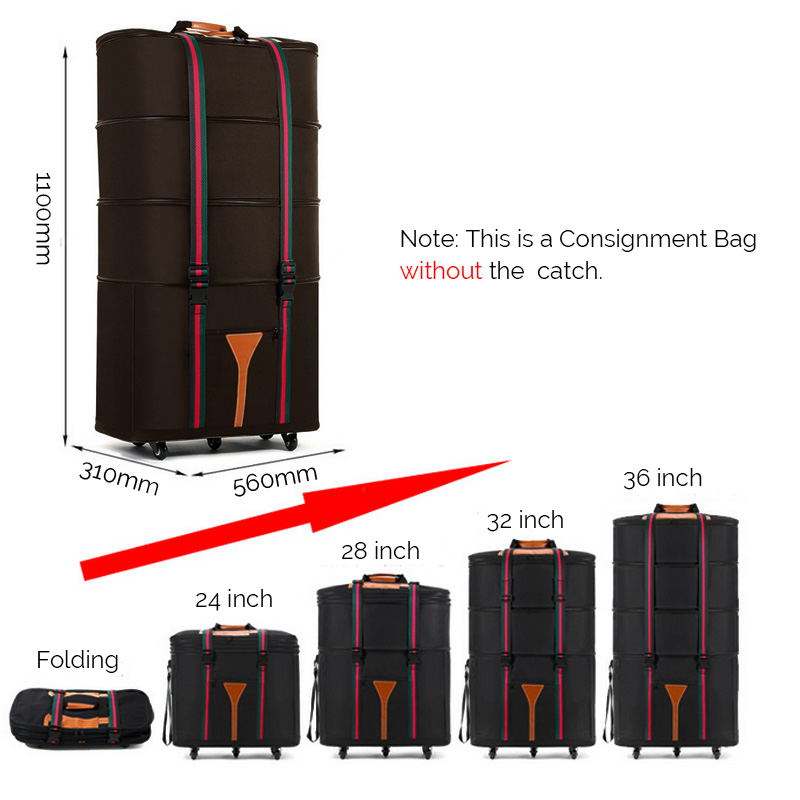 4 Layers Retractable Folding Consignment Luggage Travel Bag Waterproof Oxford Storage Suitcase
