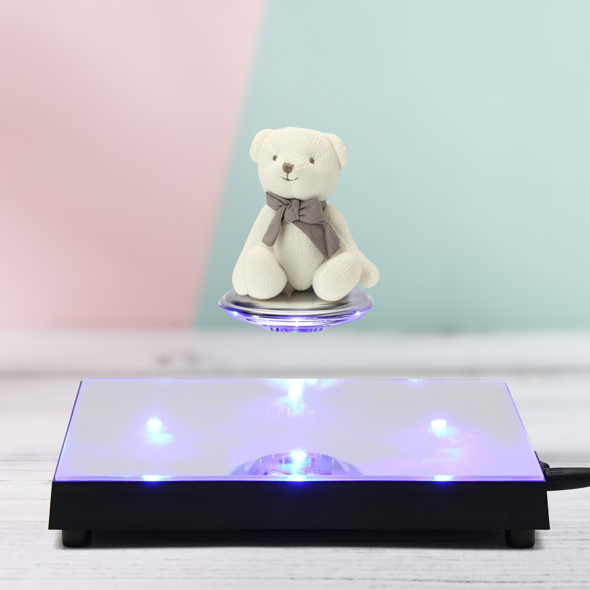 Magnetic Levitation LED Display Platform 350g Floating Rotating Jewelry Show Stand Holder Gift