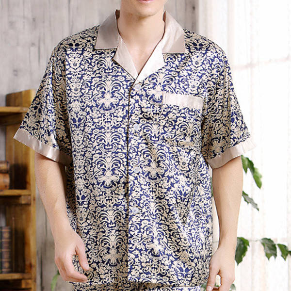 Two Peices Casual Home Soft Cool Thin Short Sleeve Luxury Printing Sleepwear Sets for Men