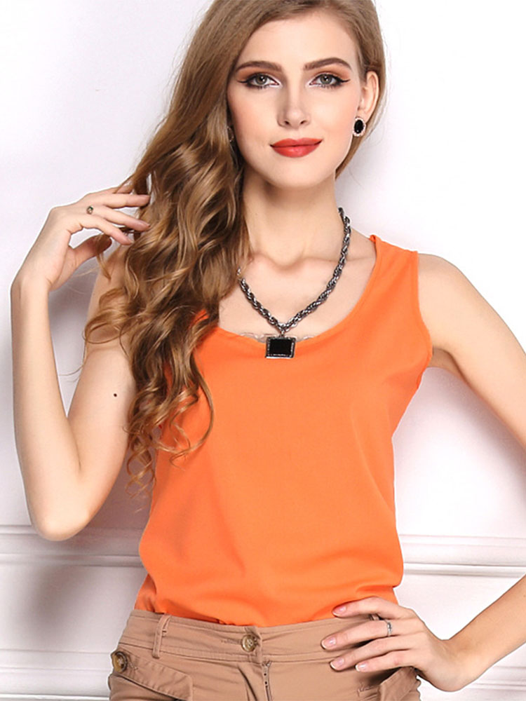 Casual Women Sleeveless O-neck Chiffon Pure Color T-shirts