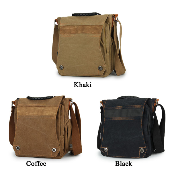 Men Women Multifunctional Casual Canvas leather IPad Shoulder Crossboby Bag
