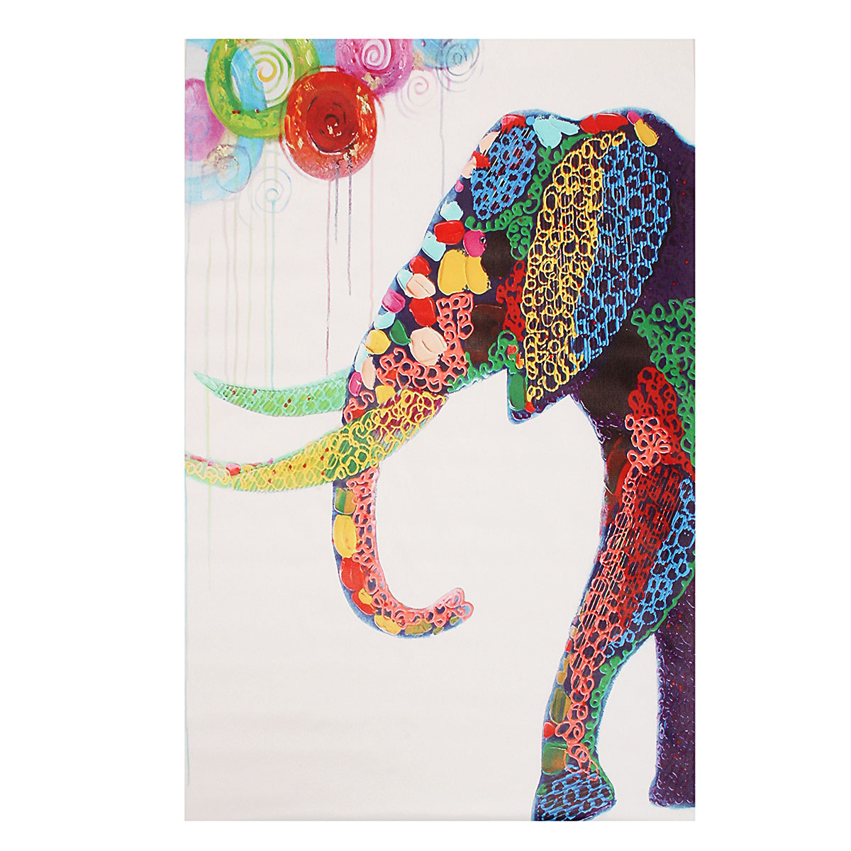 Cartoon Elephant Picture Frameless Modern Abstract Canvas Oil Painting Wall Decoration