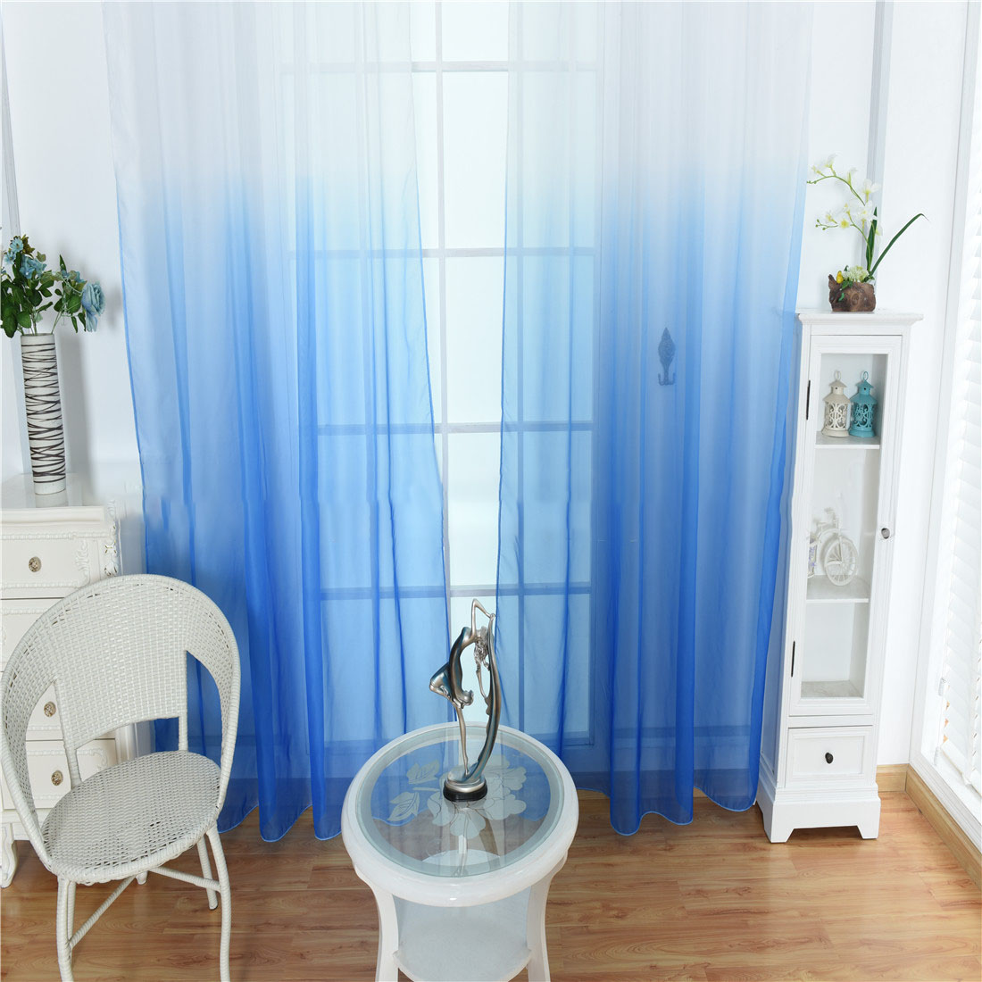 Honana 100x200cm Curtains Color Gradient Terilun Tulle Window Screen Sheer Panels Romantic Wedding Decor Curtain For Living Room Bedroom
