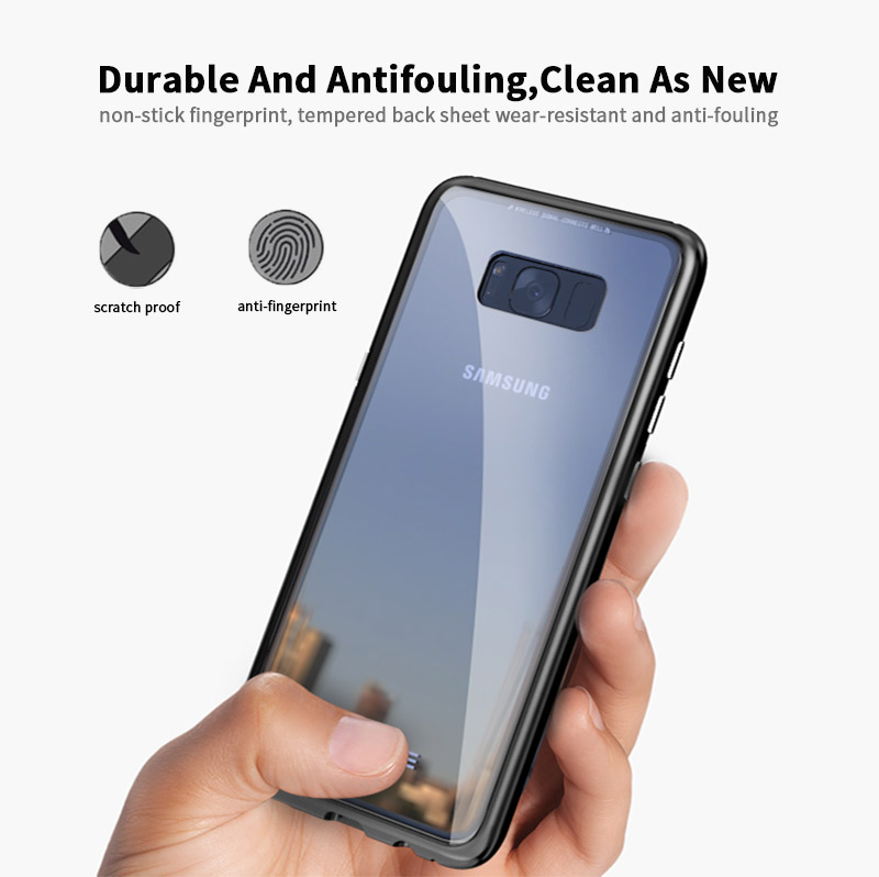 Luphie Magnetic Adsorption Aluminum Tempered Glass Protective Case For Samsung Galaxy S8