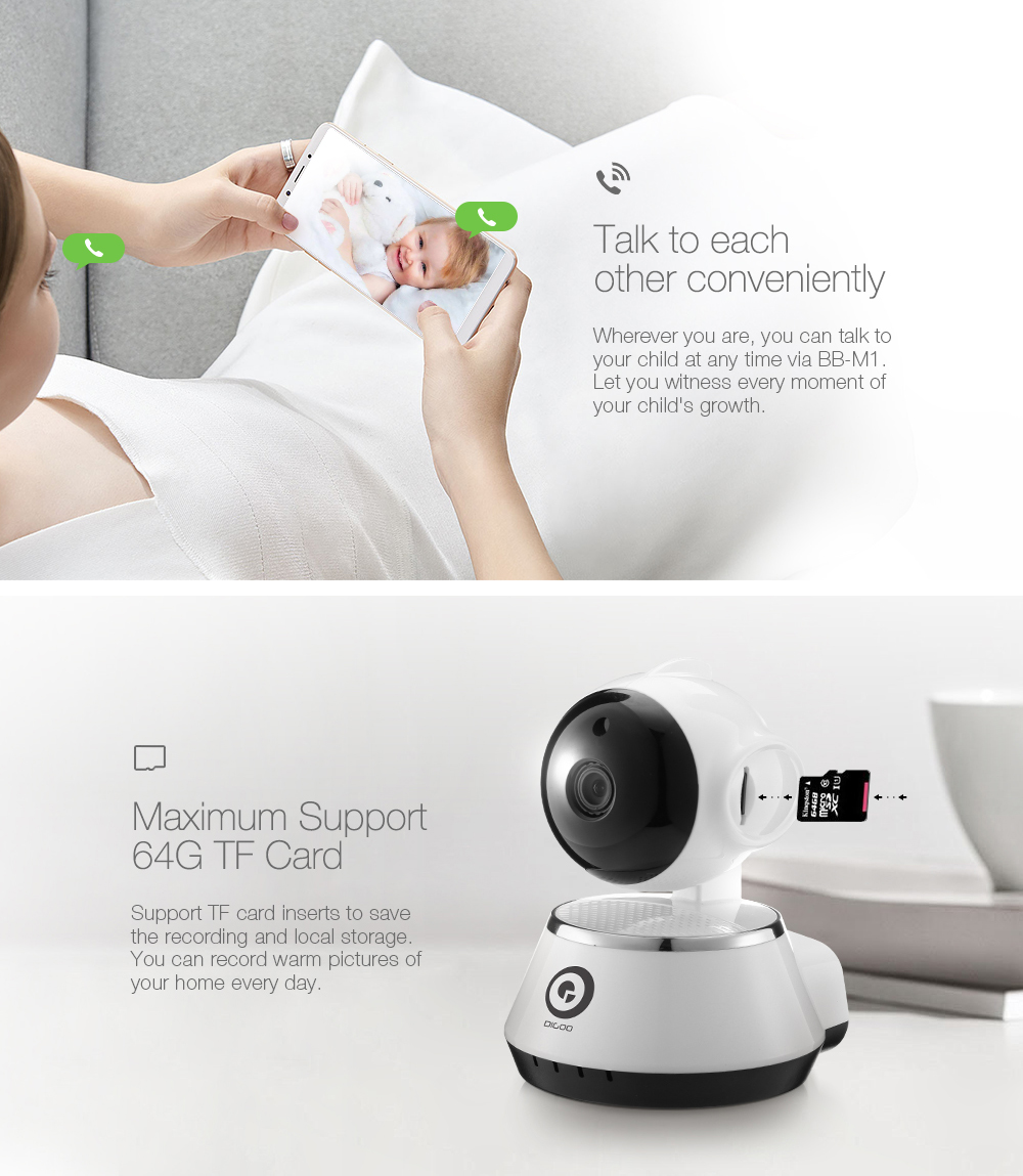 DIGOO BB-M1 720P HD Baby Monitor Smart Home WiFi IP Camera Two-way Audio NETIP Protocol